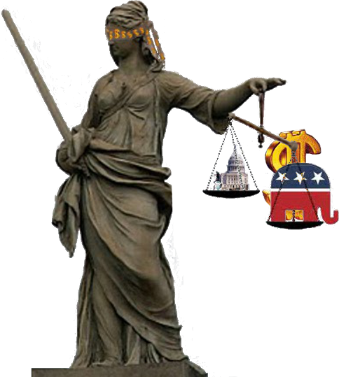 Statue of Justice blinded by money